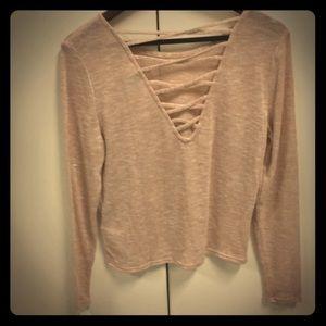 H&M Thin Crop Pink Sweater, L, Criss-Cross Back